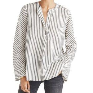 Madewell Striped Flare Sleeve Shirt Size Large